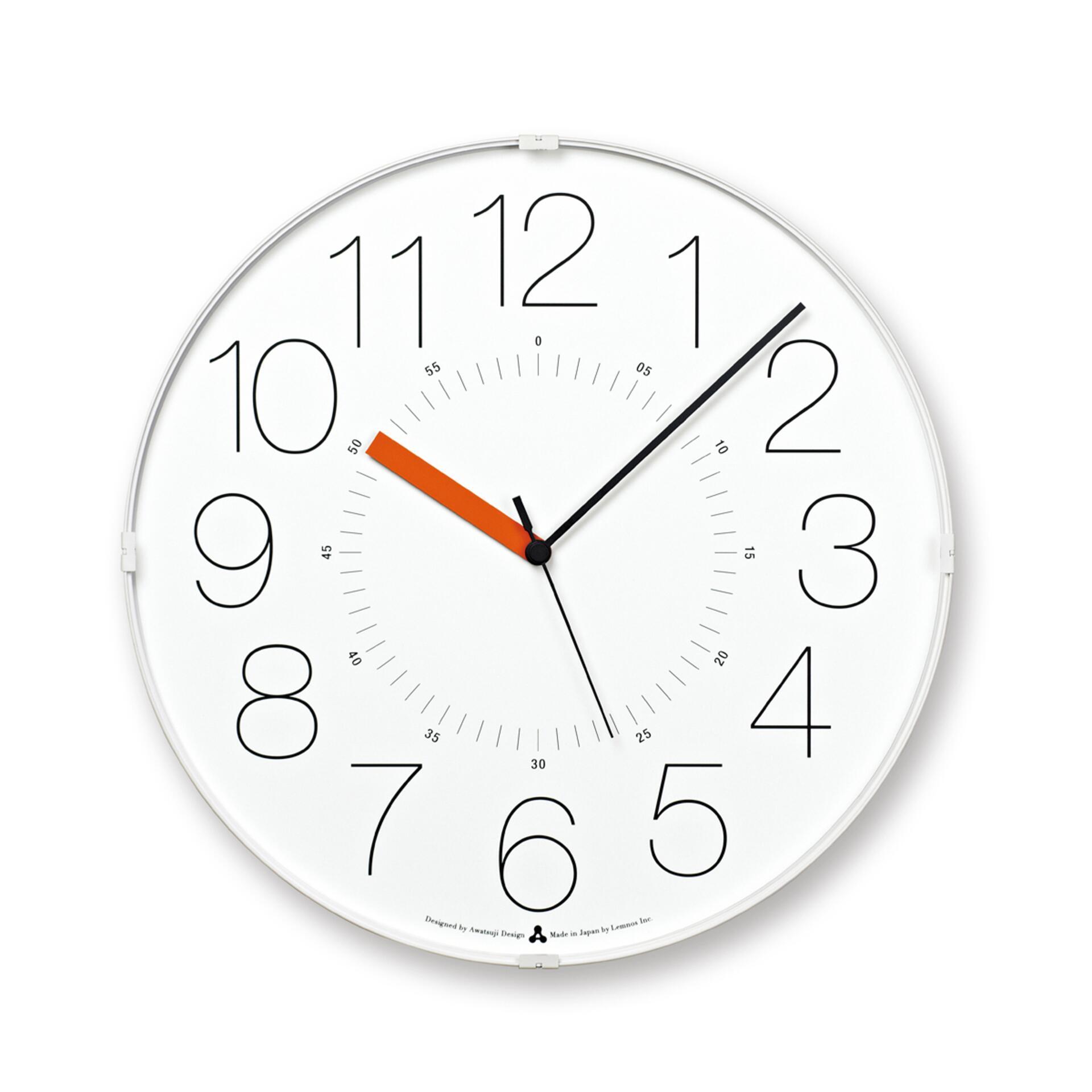 Lemnos Awa Clock Cara Wanduhr Weiss-Orange