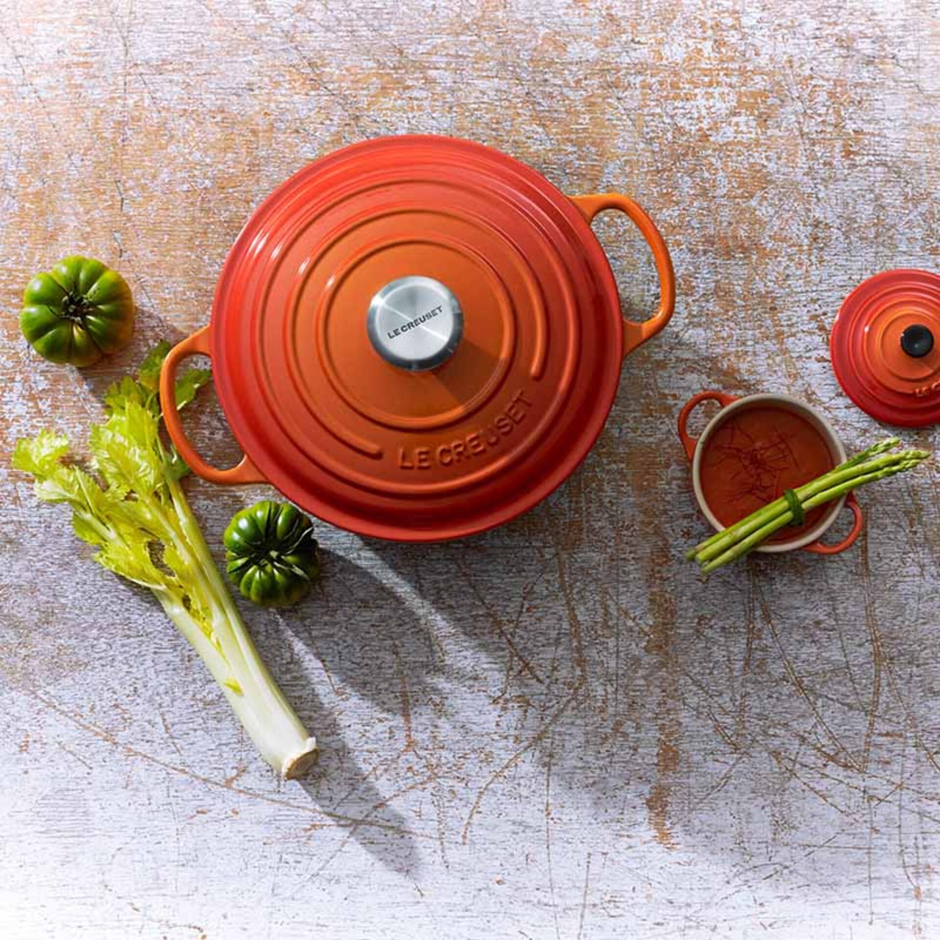 Le Creuset Gourmet-Bräter Signature 30 cm rund Ofenrot 3,5 L