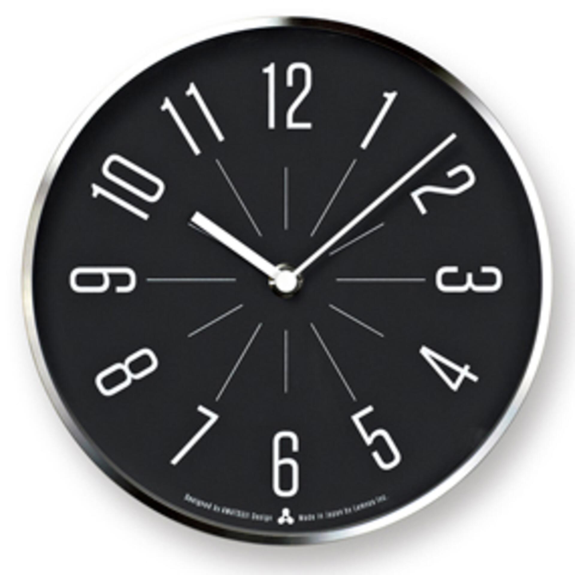 Lemnos Awa Clock Jiji Wanduhr Schwarz mit silbernem Rahmen
