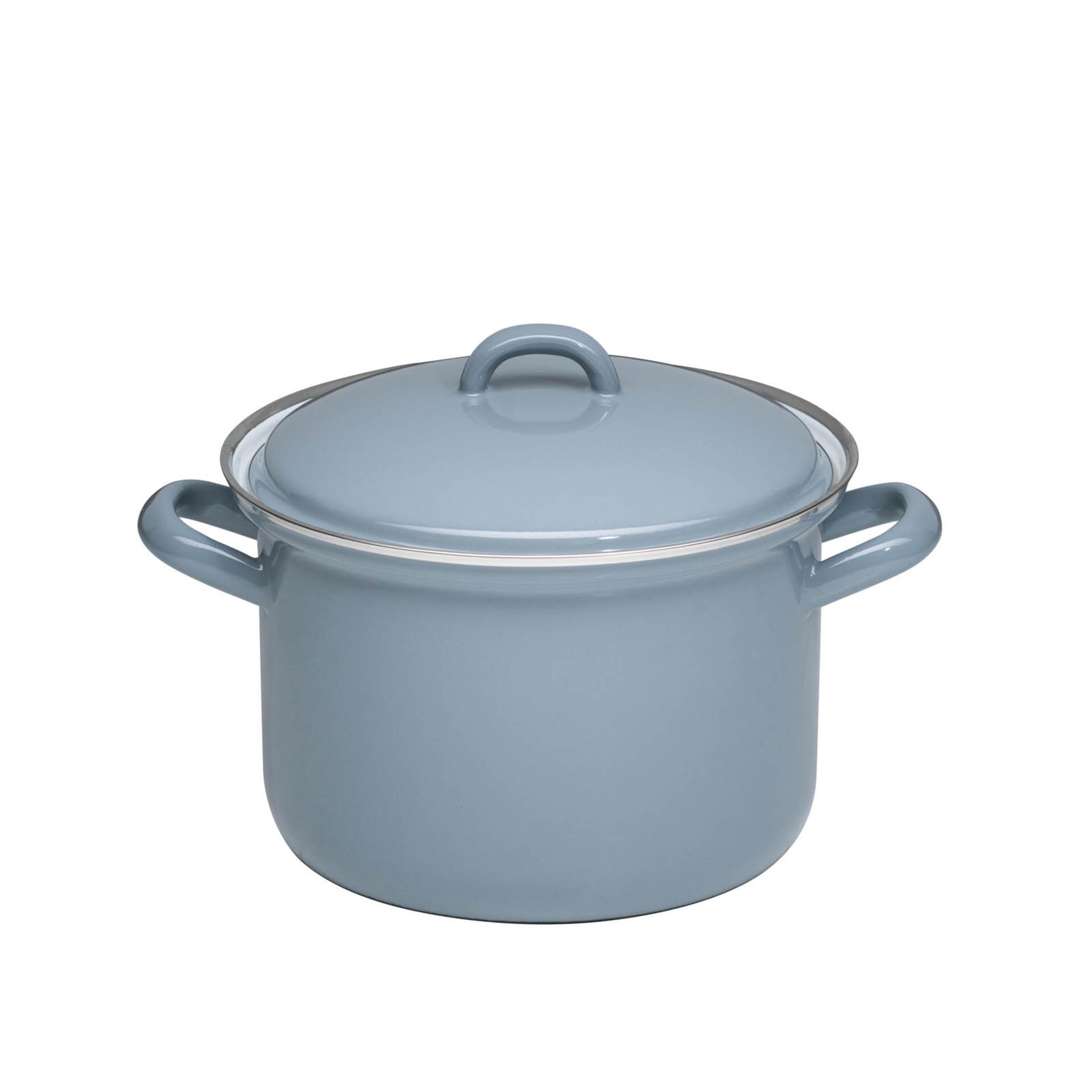 Riess Fleischtopf mit Deckel aus Emaille Pure Grey 3,5 l