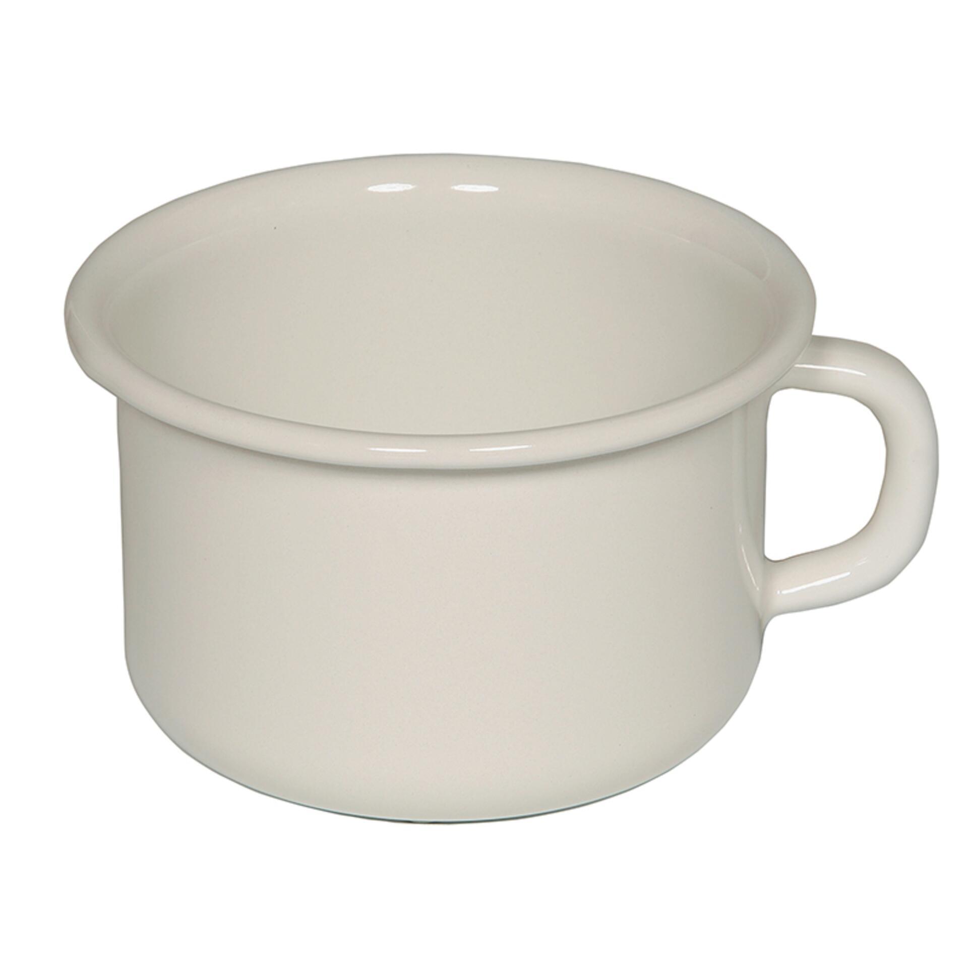 Riess Kaffeeschale Emaille 10 cm Weiss