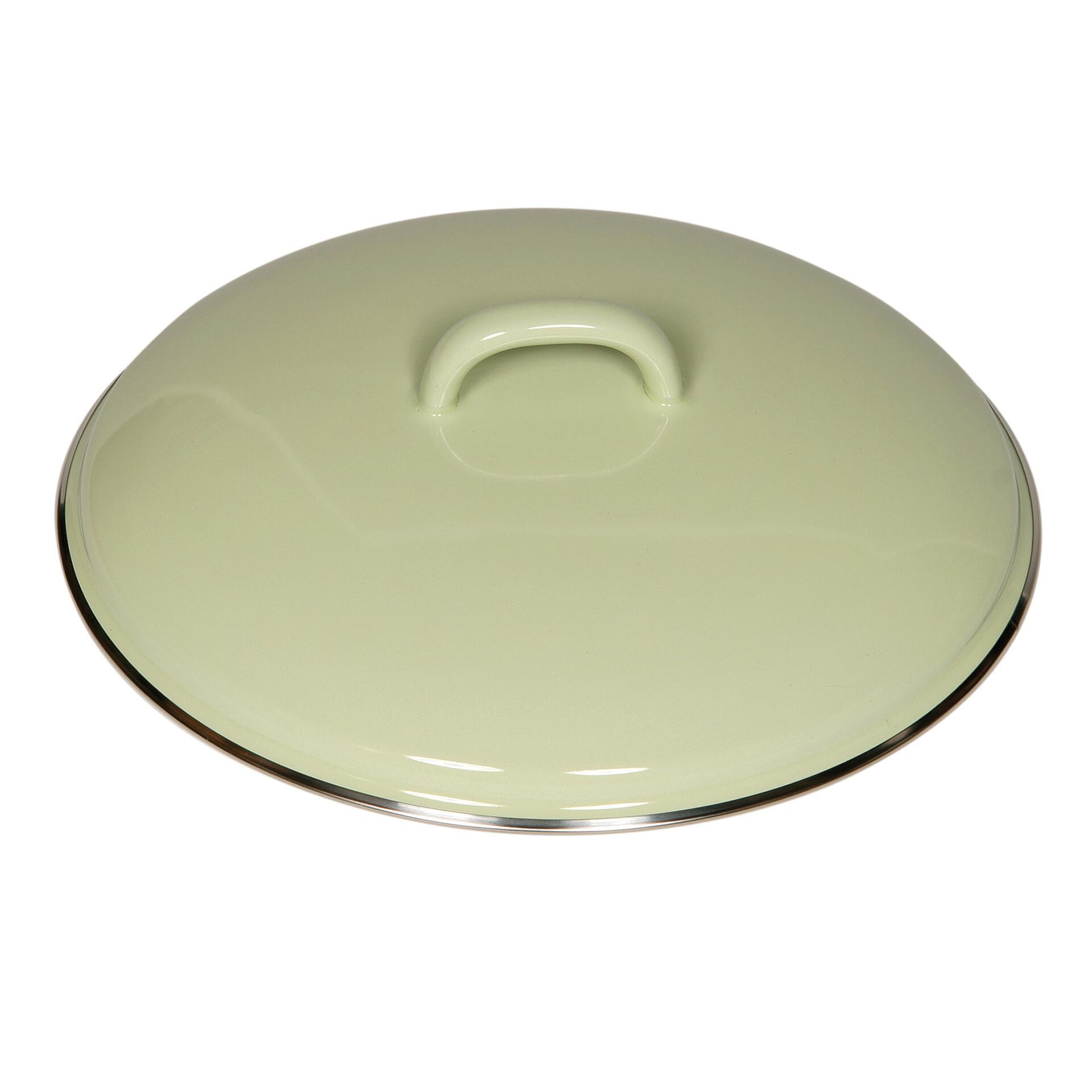 Riess Deckel aus Emaille 16 cm Grün