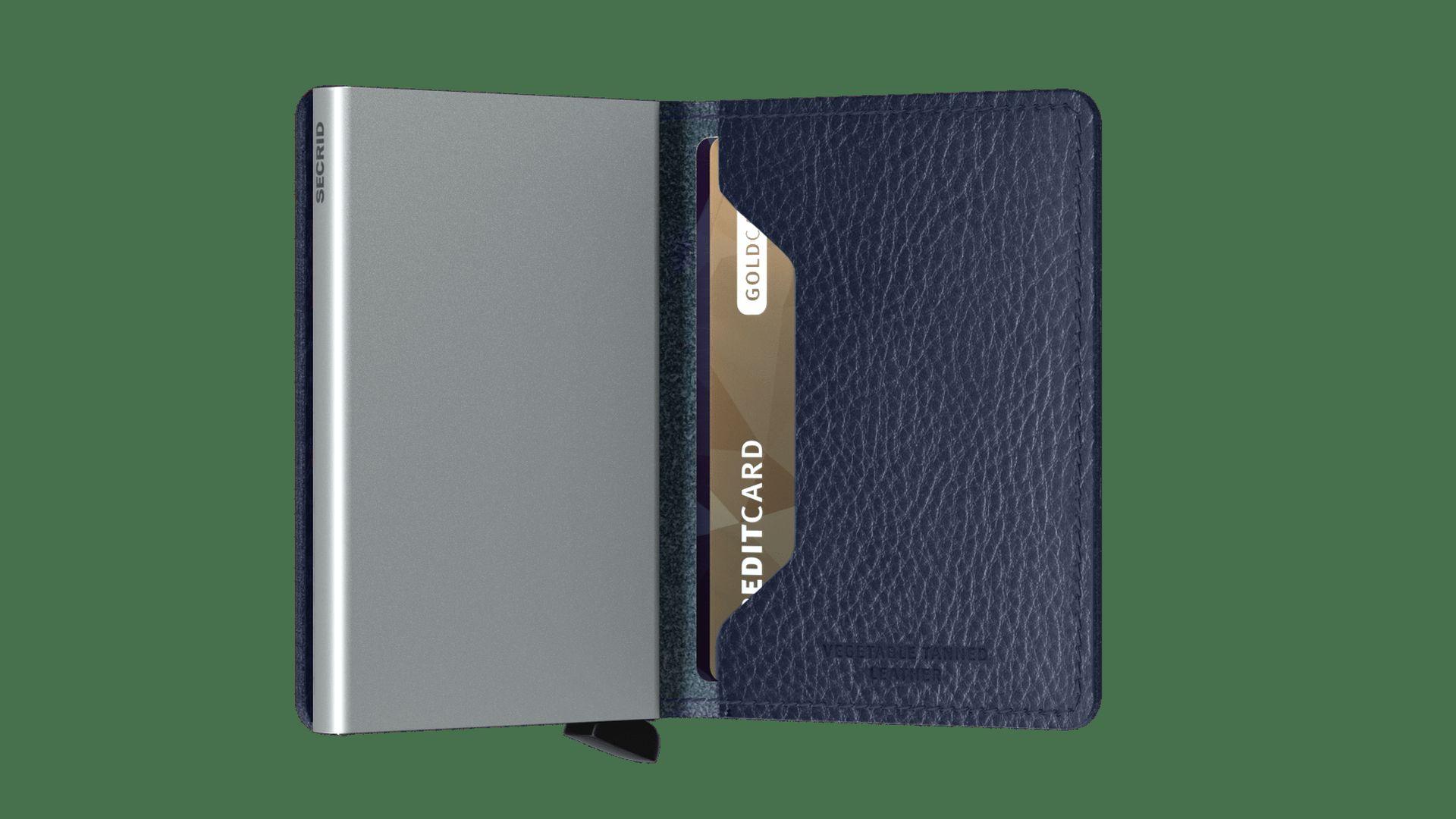 Secrid Slimwallet Vegetable Tanned Navy-Silver