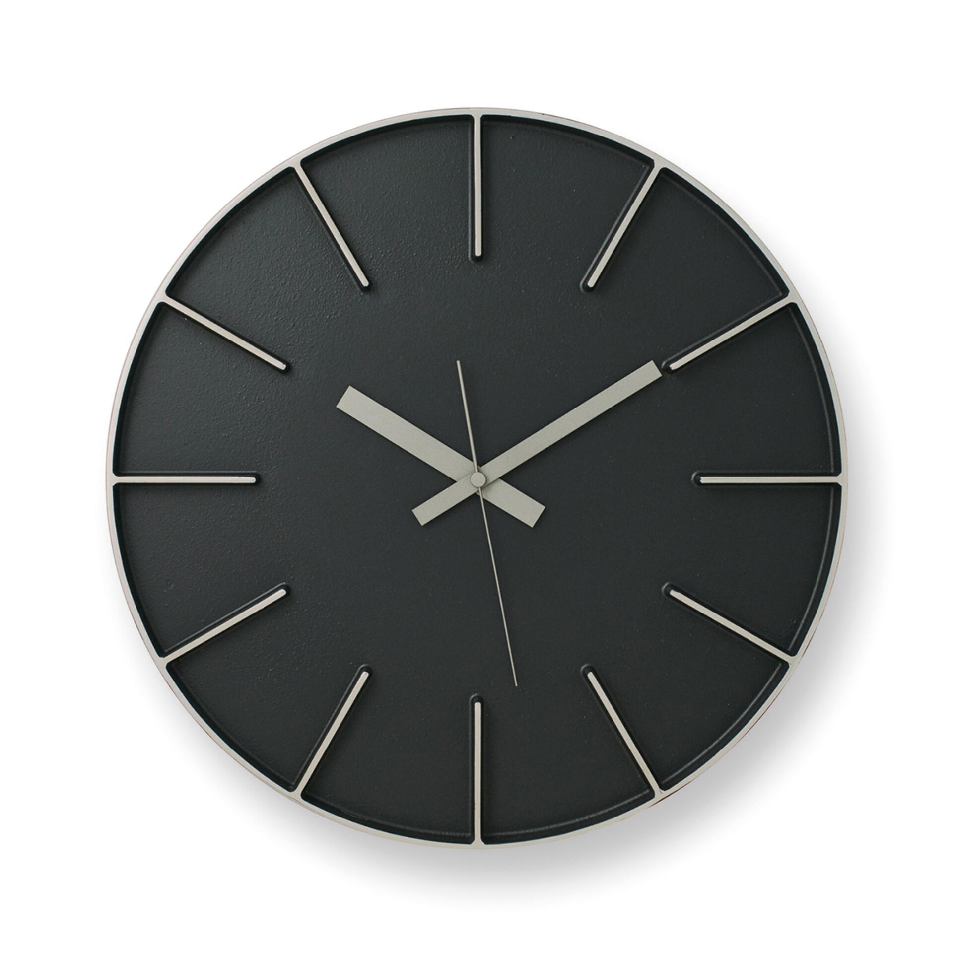 Lemnos Edge Clock Wanduhr Groß Schwarz