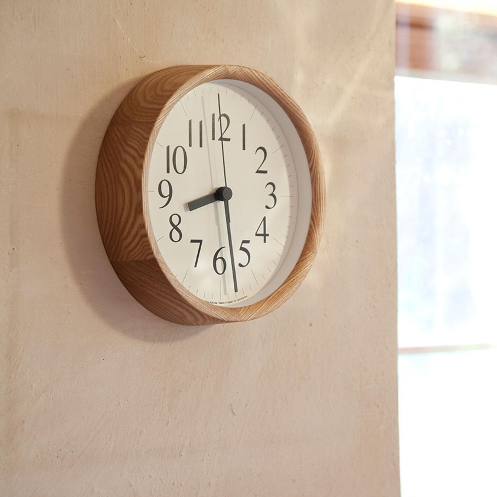 Lemnos Clock B Wanduhr Natur