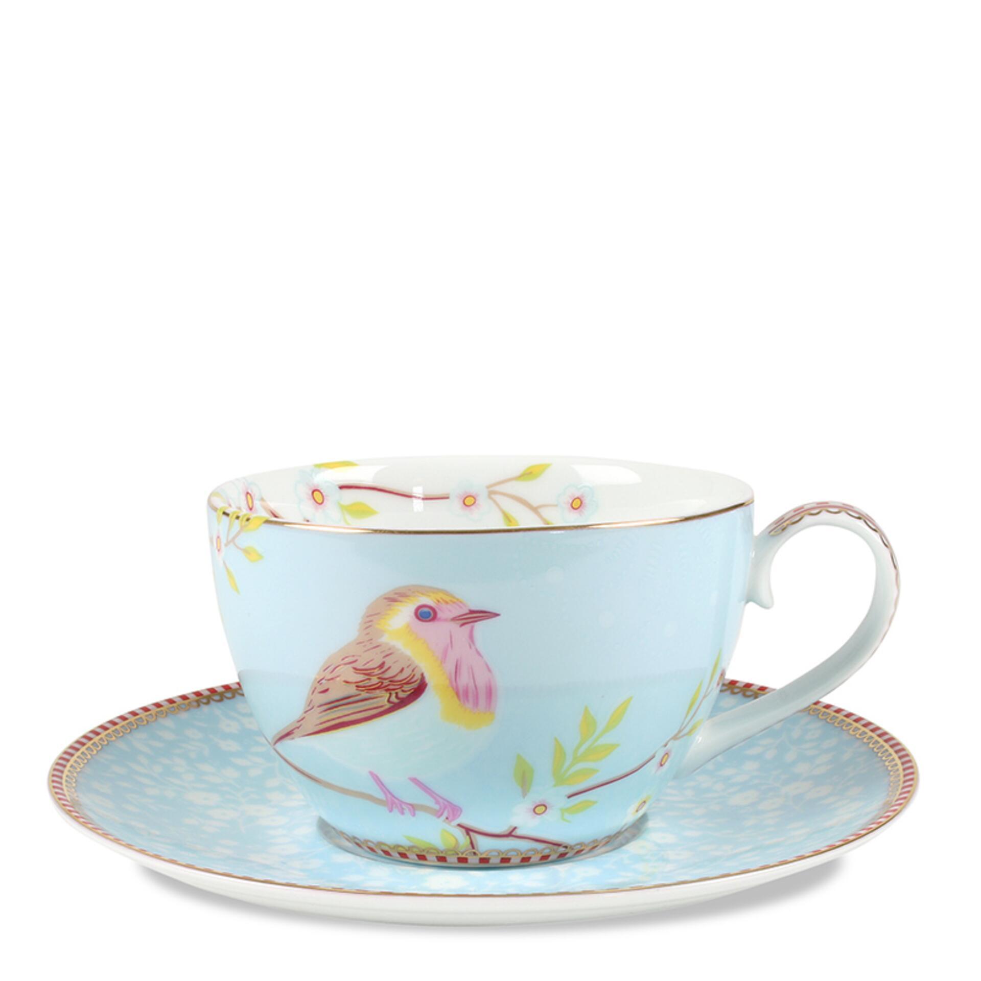 PiP Porzellan Cappuccinotasse mit Untertasse Early Bird Blau