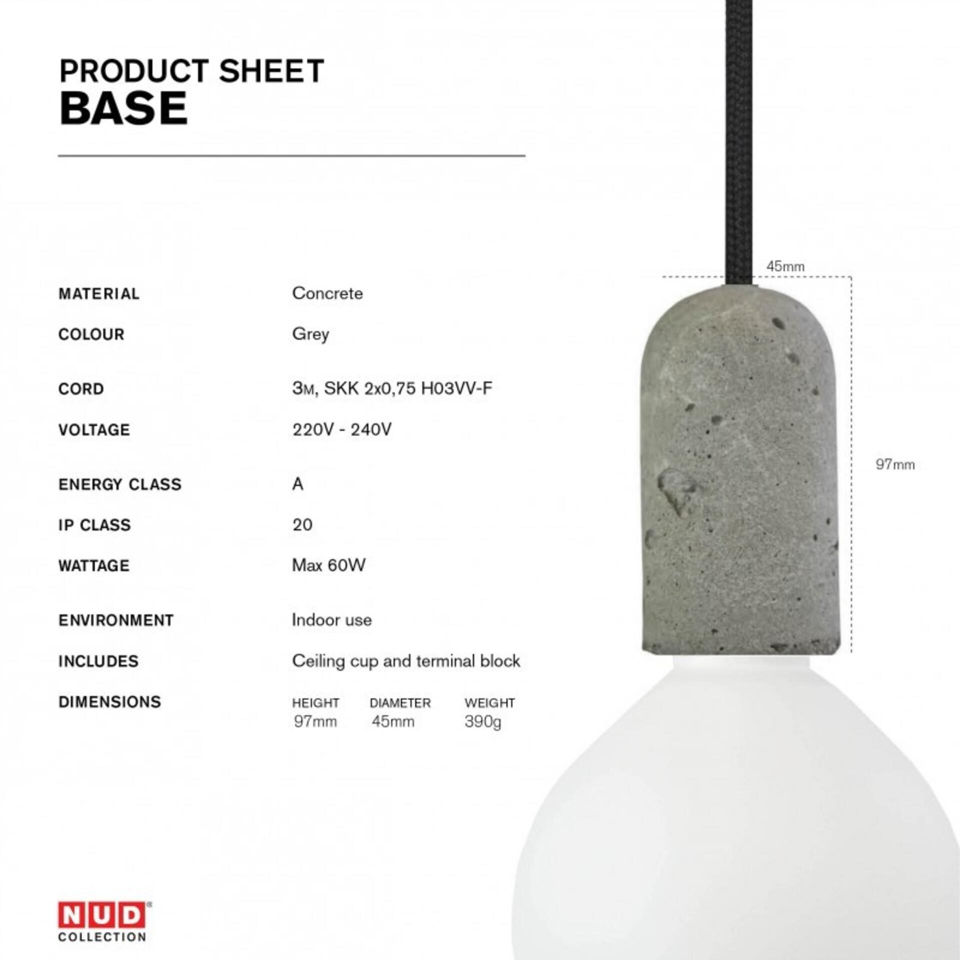 Nud Lampenfassung Beton Grau