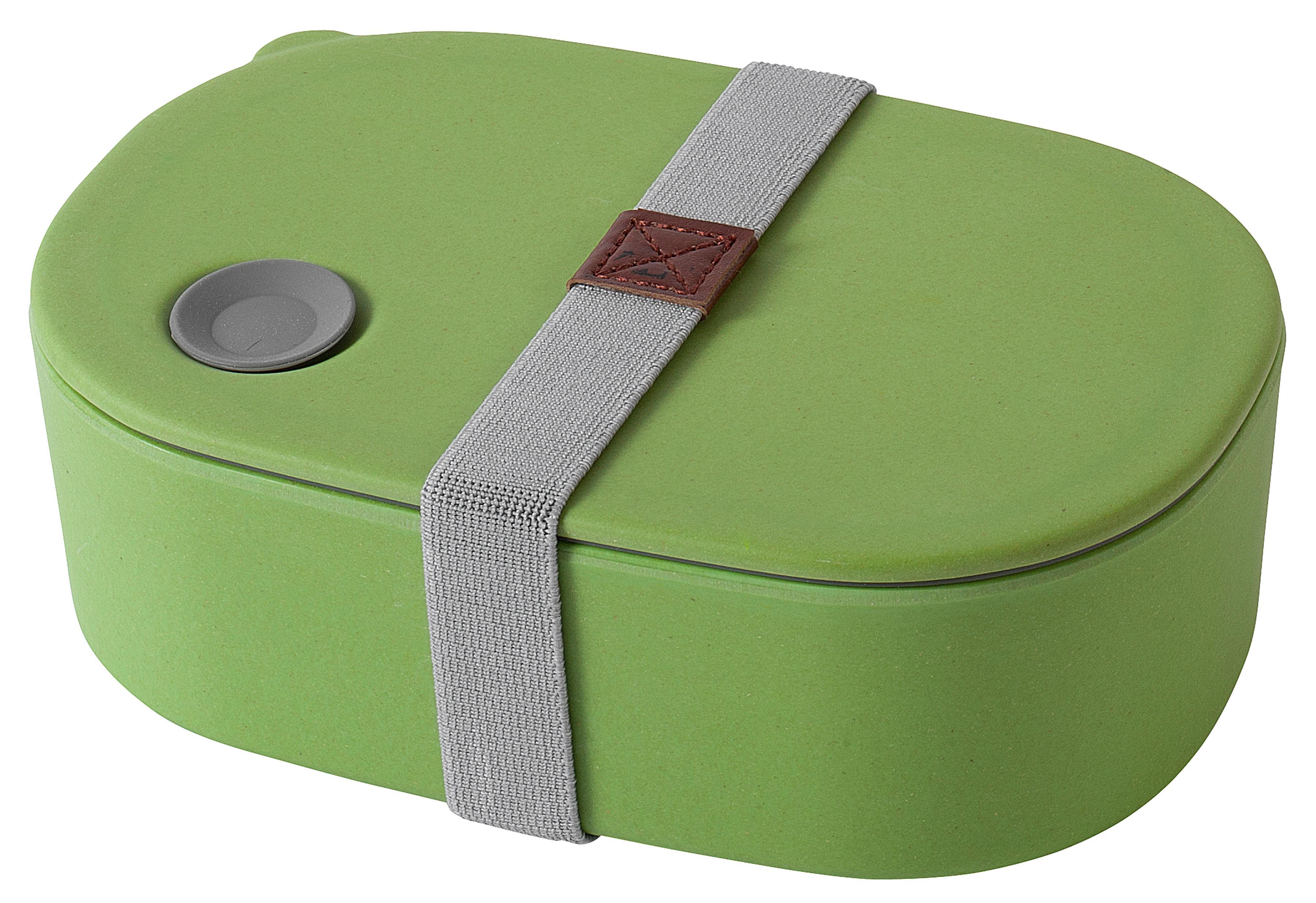 MAGU Lunchbox Natur Design oval grün ca. 70 % Cellulose (gewonnen aus Bambusfasern, Maisstärke und Holzfasern) / ca. 30 % Harze, lebensmittelecht