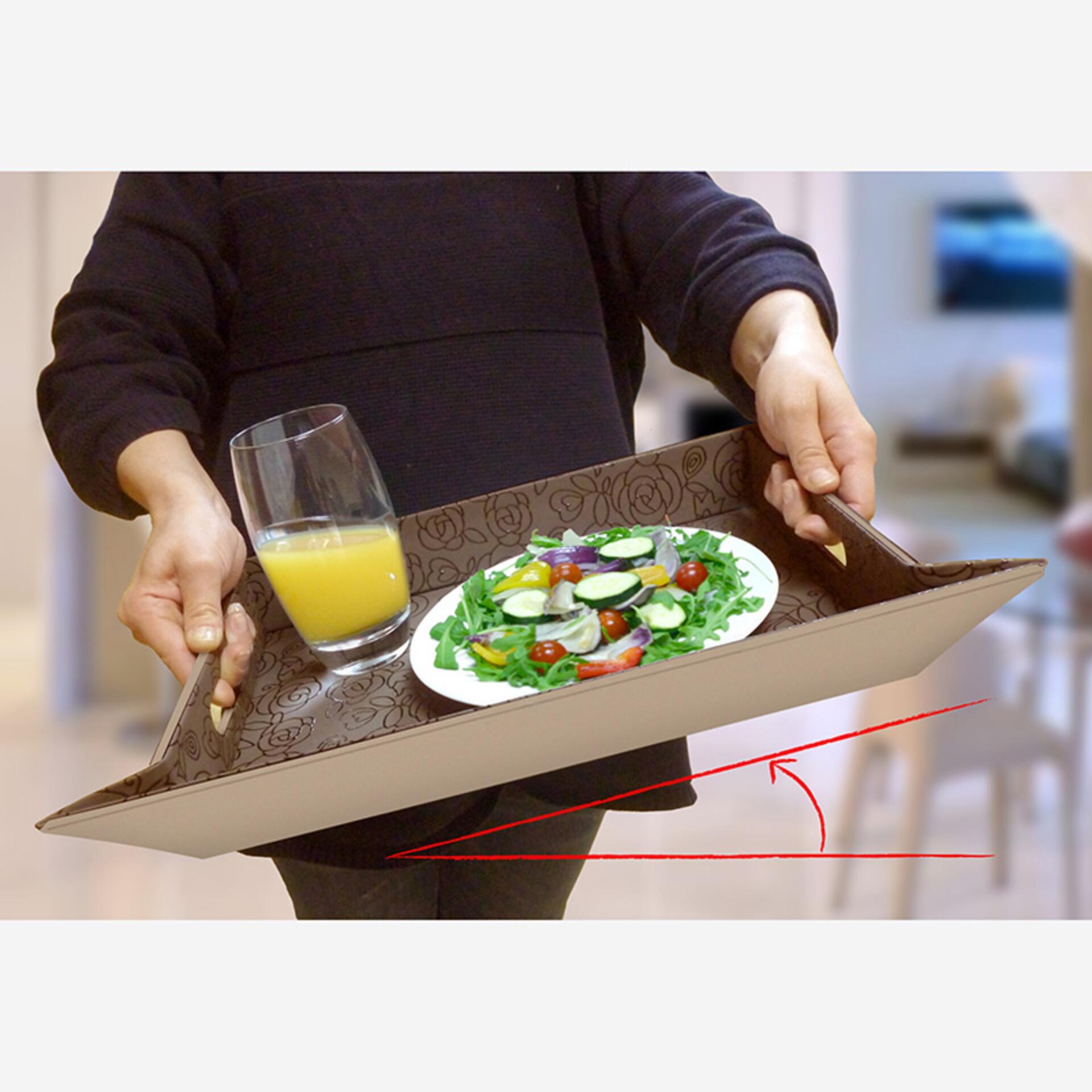 Freeform Tablett Tischset Schwarz Grau 45 x 35 cm