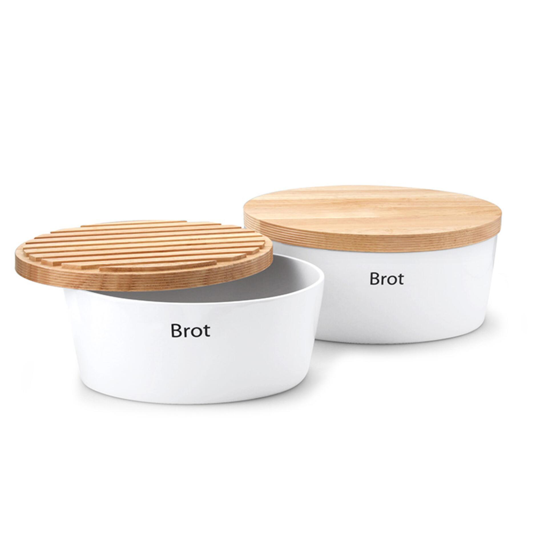 Continenta Brottopf oval mit Holzdeckel 27 x 20 x 13,5 cm