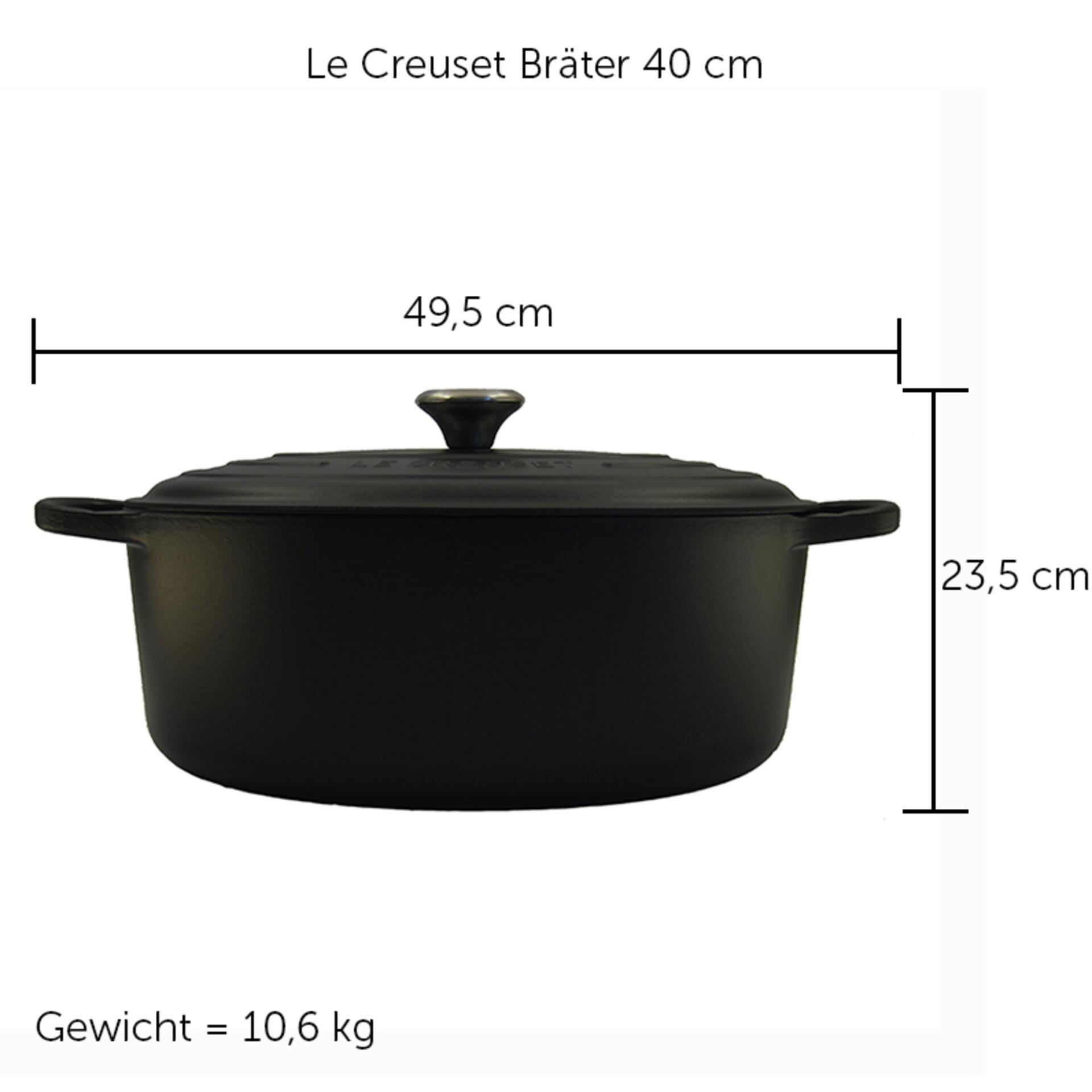 Le Creuset Bräter Signature 40 cm oval Schwarz 13,9 L