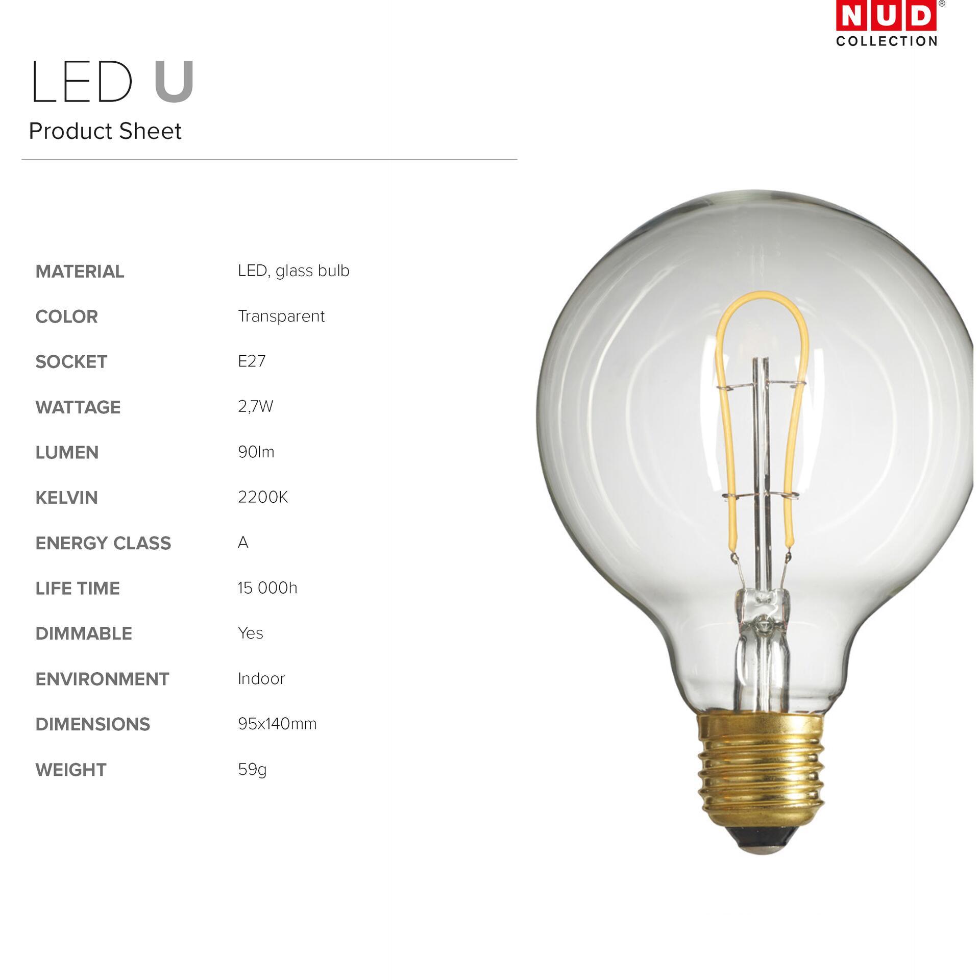 Nud LED Glühbirne Globe 95 mm dimmbar U-förmig