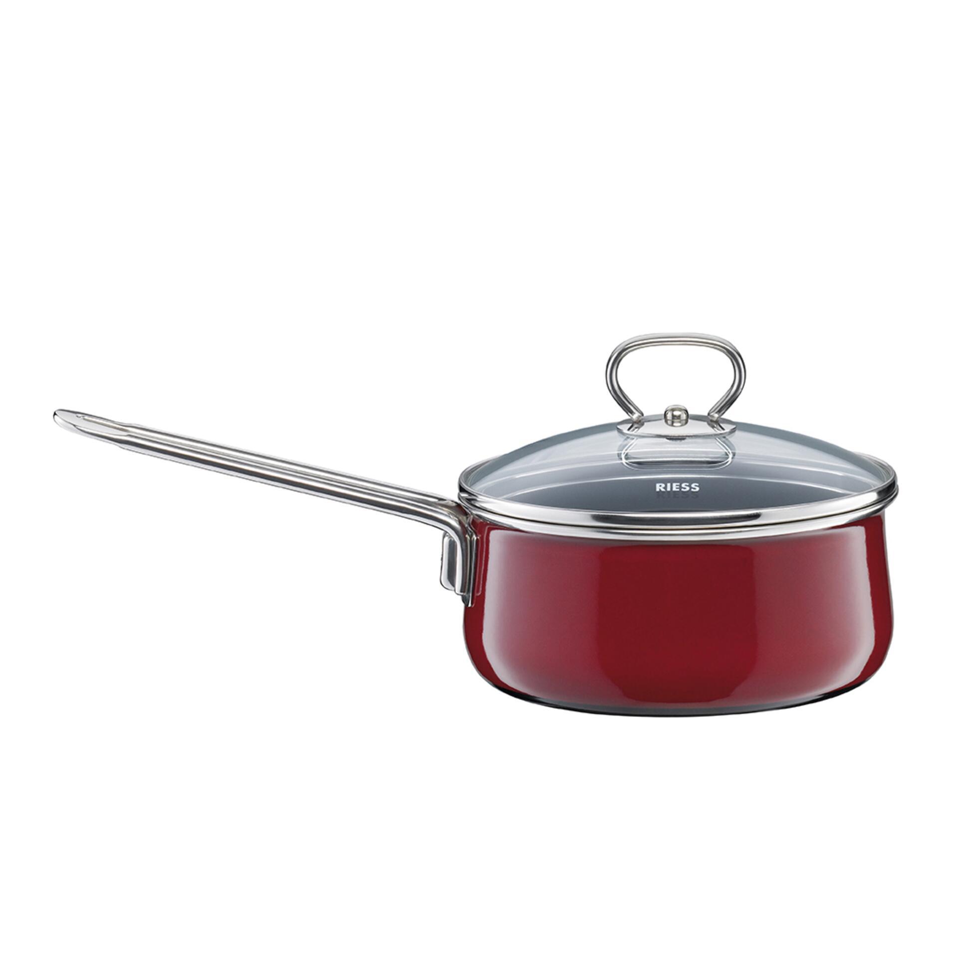 Riess Emaille Stielkasserolle mit Glasdeckel 16 cm 1 l Nouvelle Rosso Top 3000