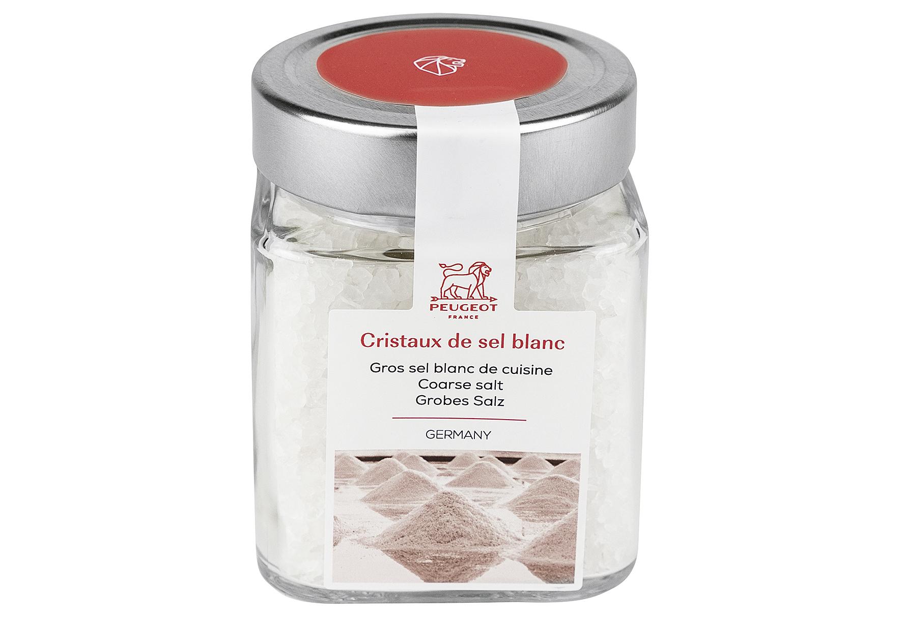 Glas mit weißem Salz 370g
