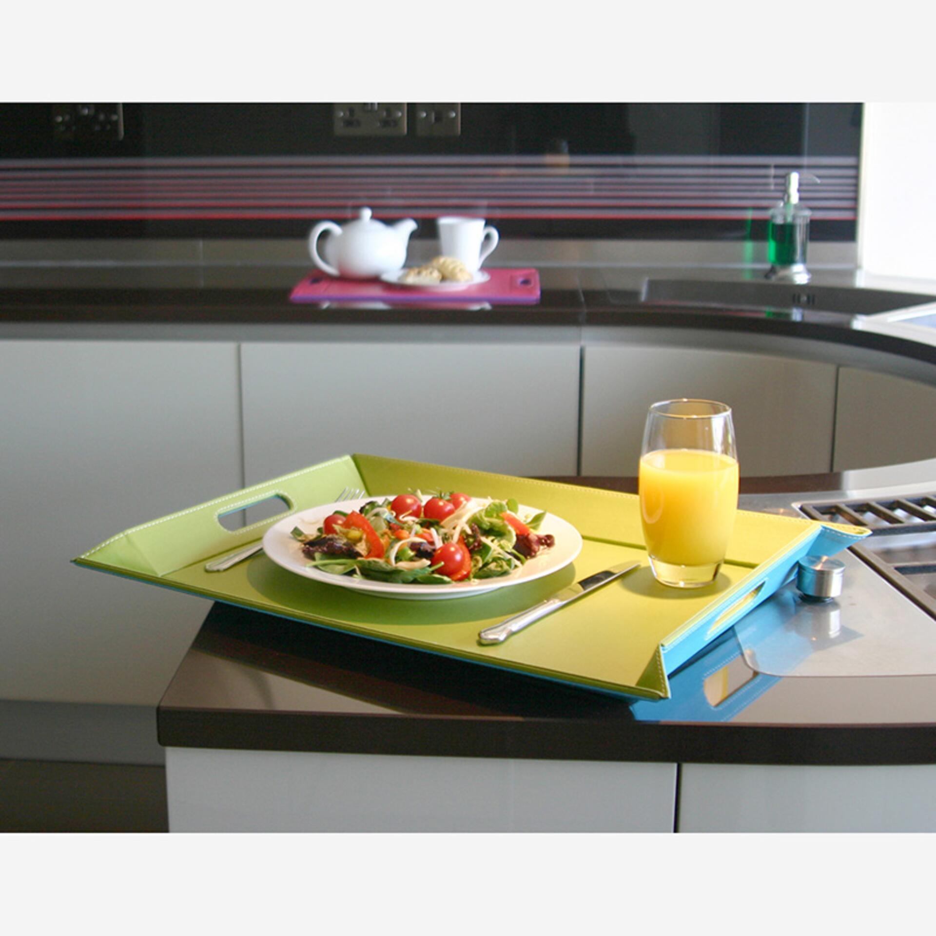 Freeform Tablett Tischset Schwarz Rot 45 x 35 cm