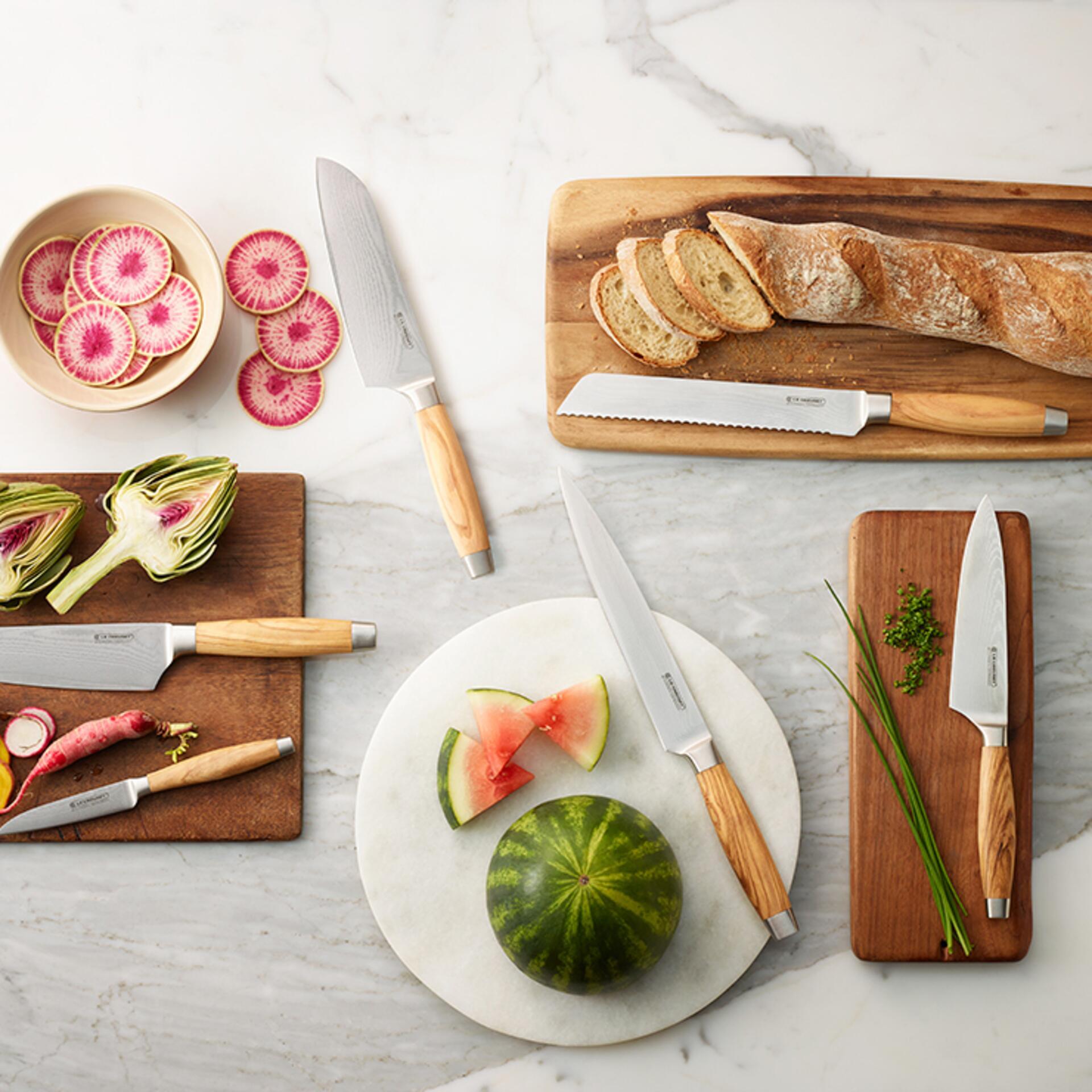 Le Creuset Santokumesser mit Holzgriff Olive 18 cm