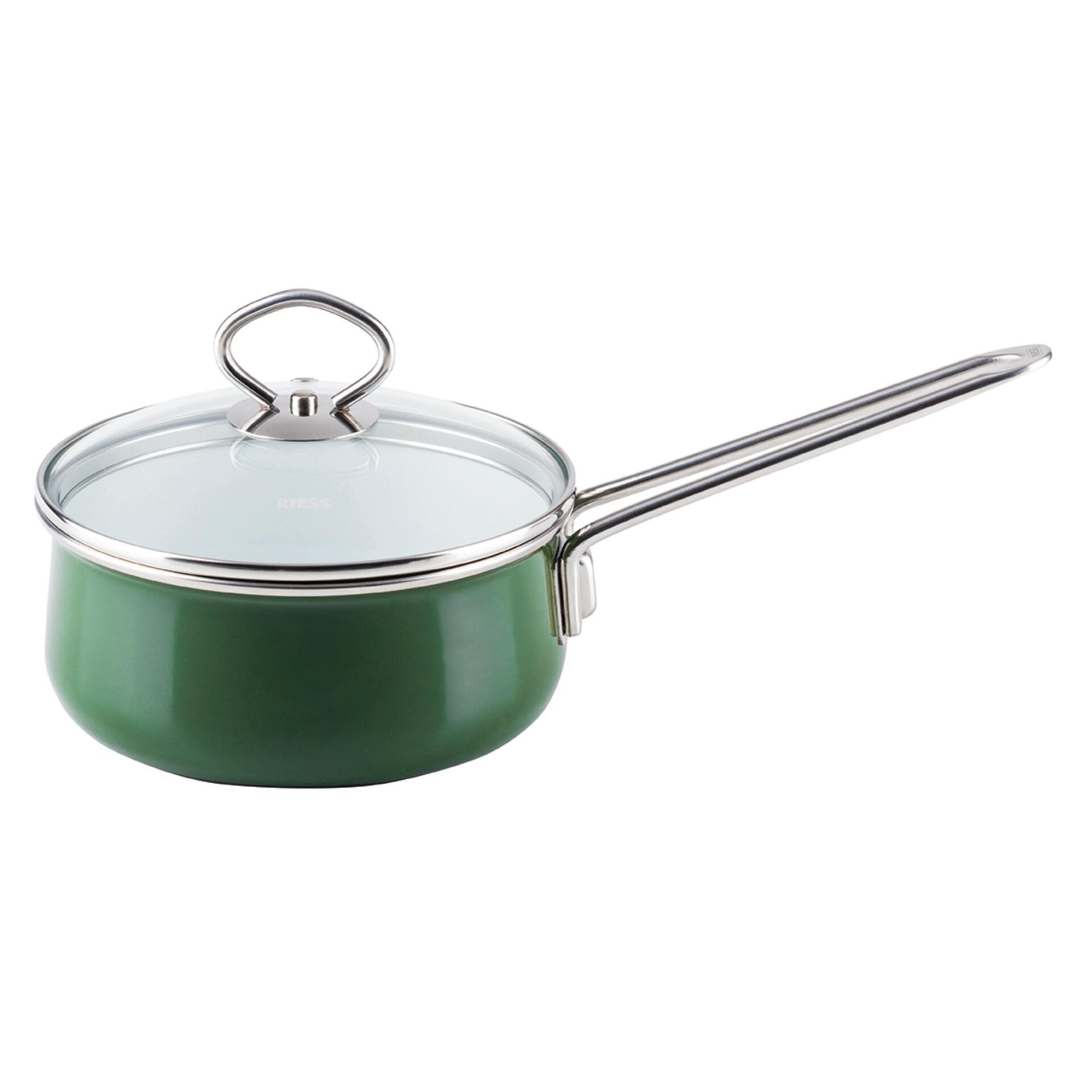 Riess Emaille Stielkasserolle mit Glasdeckel 16 cm 1 l Nouvelle Verde Top 3000