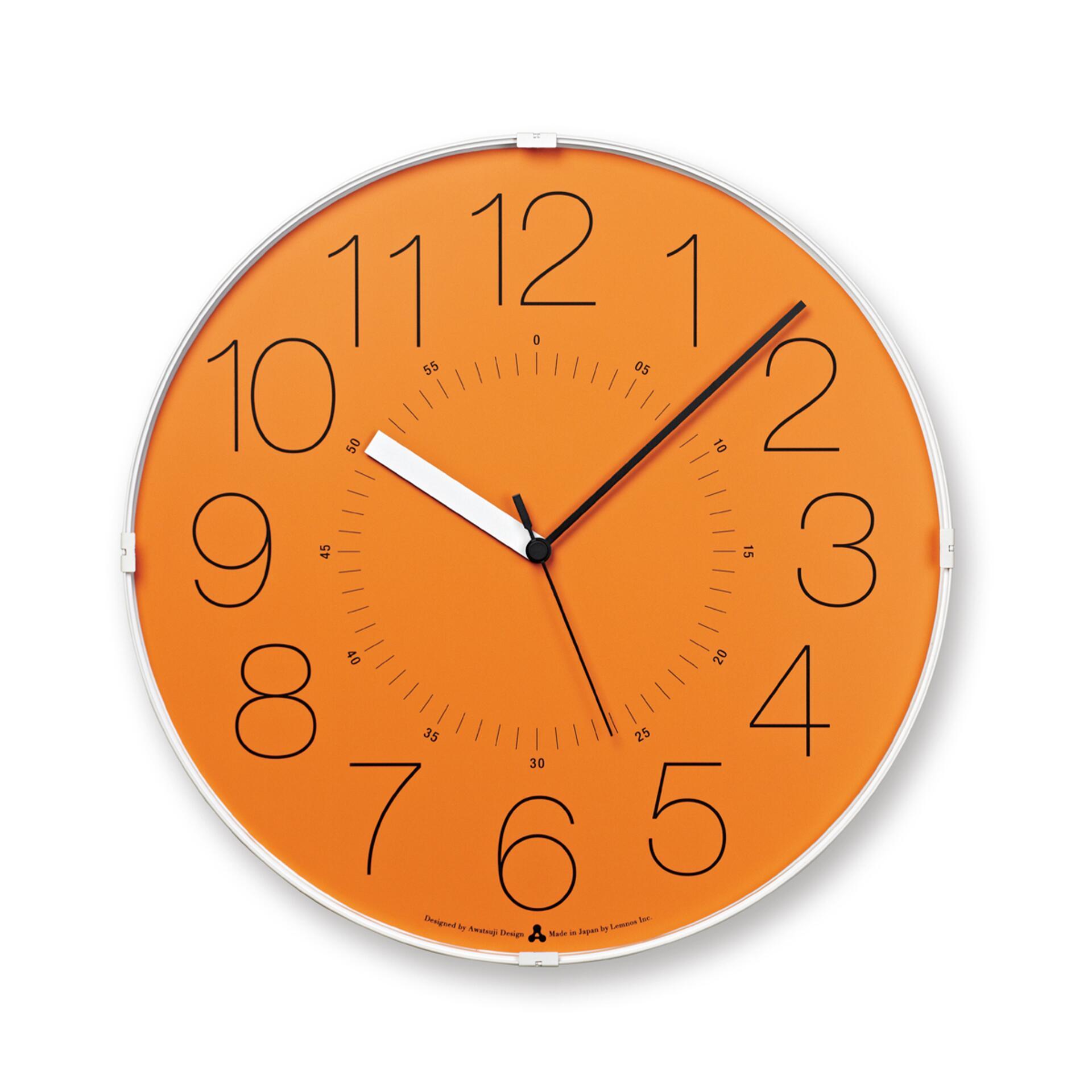 Lemnos Awa Clock Cara Wanduhr Orange