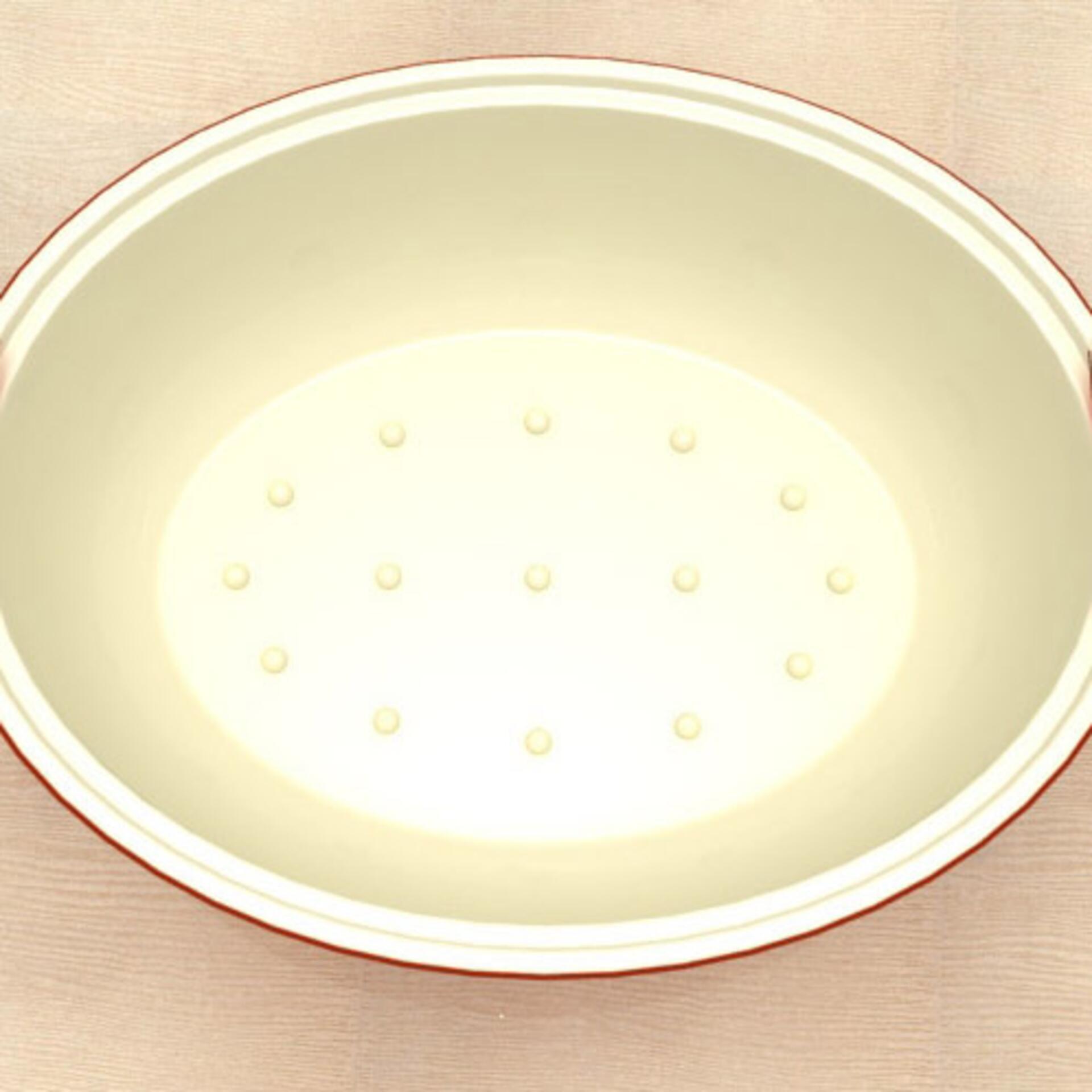 Le Creuset Bratform Tradition oval mit Deckel Ofenrot