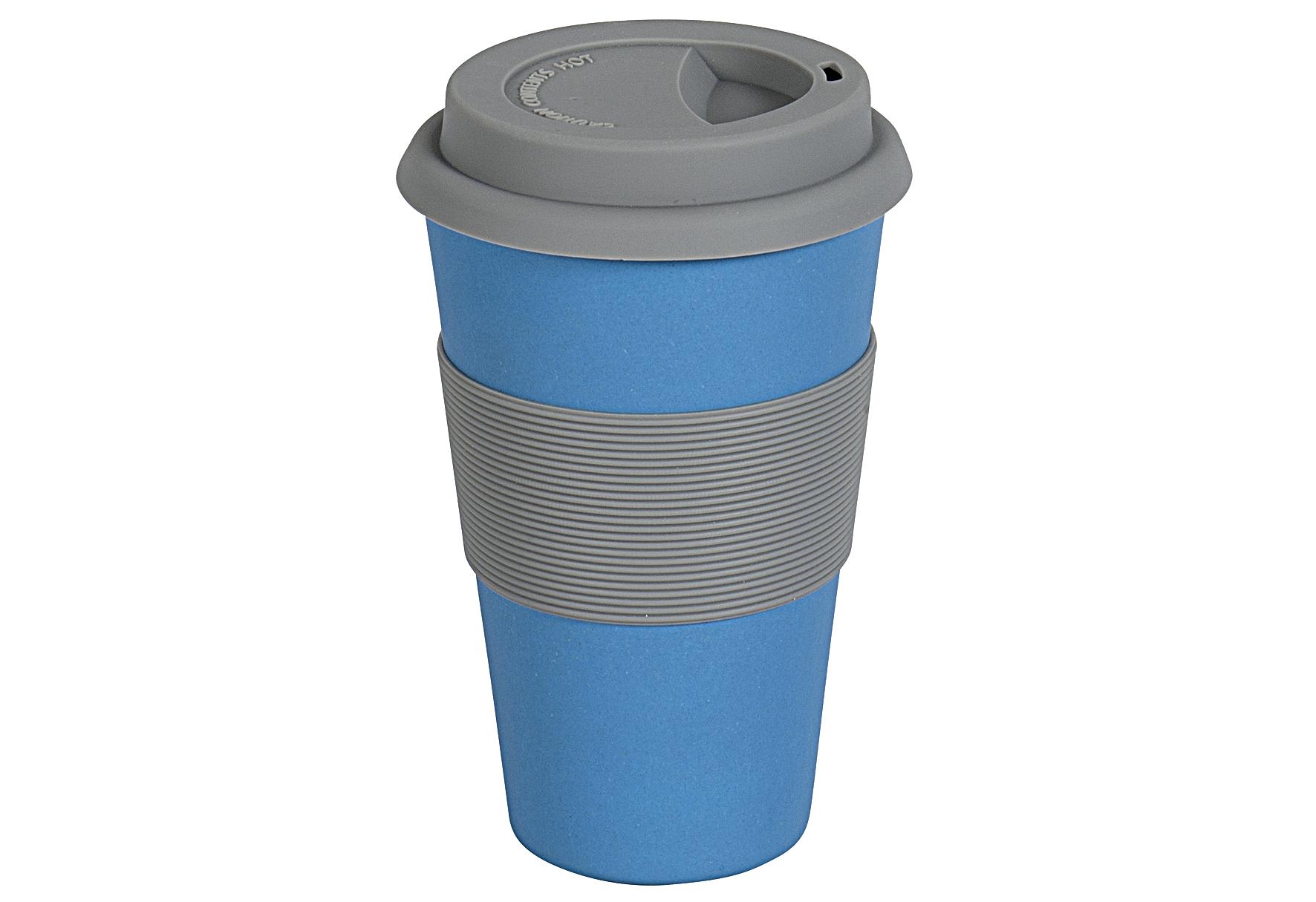 MAGU Becher Coffee to go Natur-Design blau ca. 70 % Cellulose (gewonnen aus Bambusfasern, Maisstärke und Holzfasern) / ca. 30 % Harze, lebensmittelecht