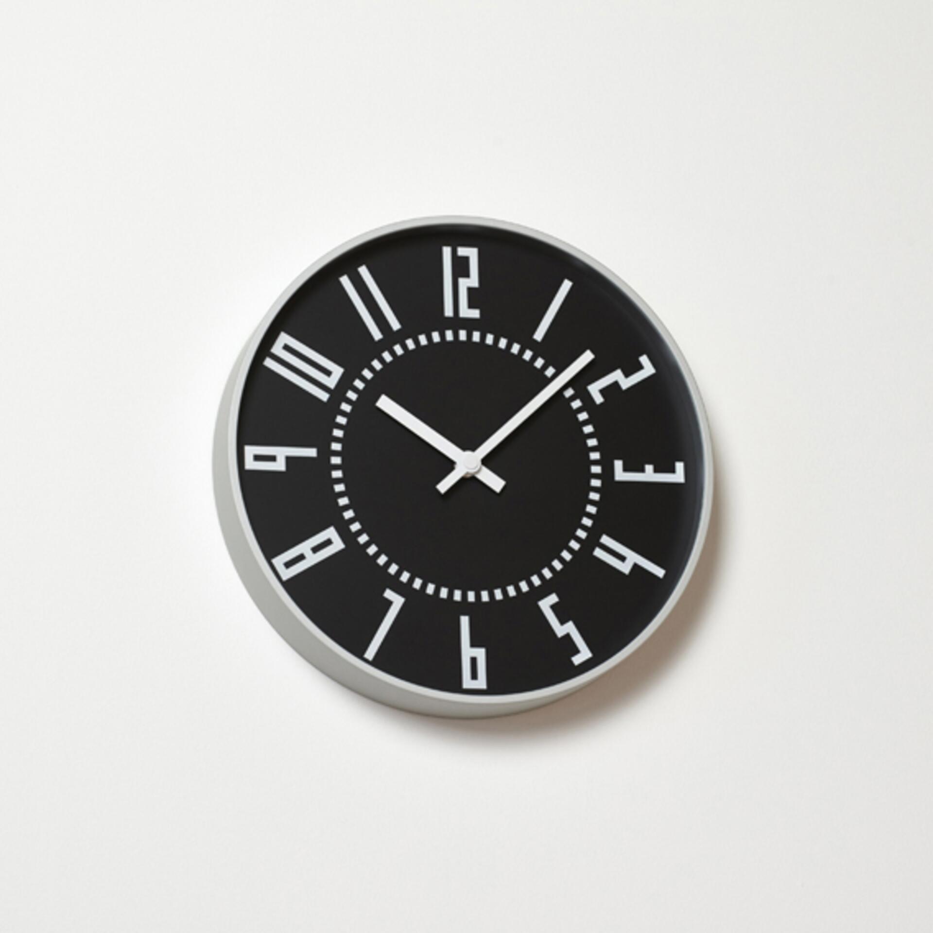Lemnos Eki Clock Wanduhr Schwarz