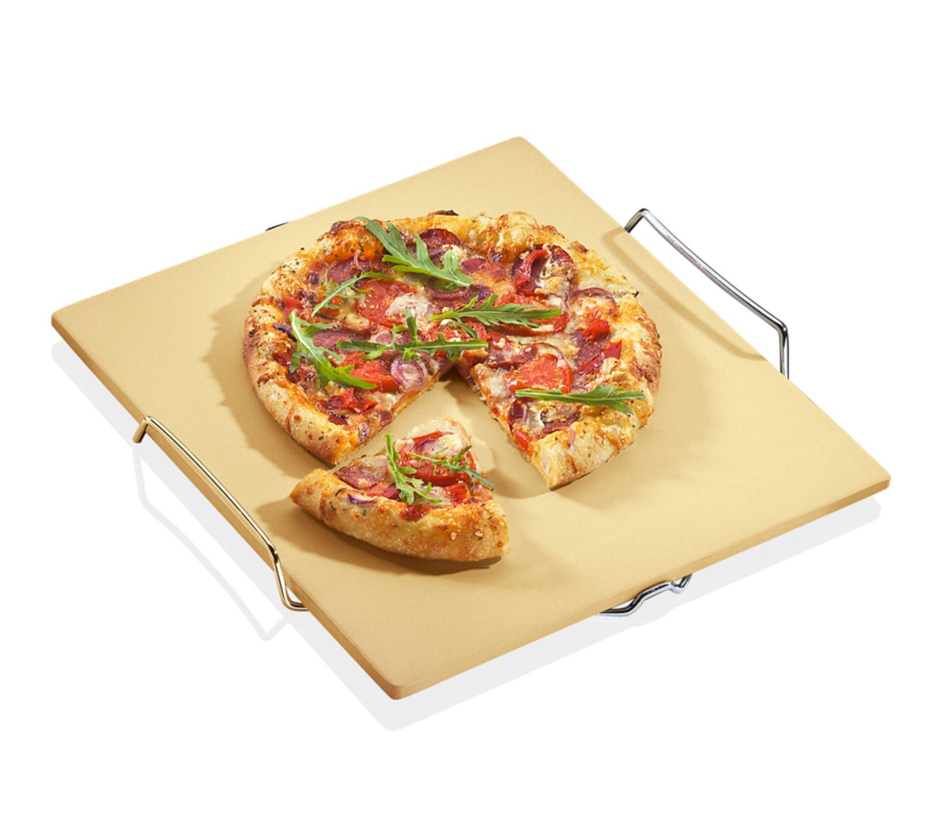 Pizzastein mit Gestell 40x38 cm