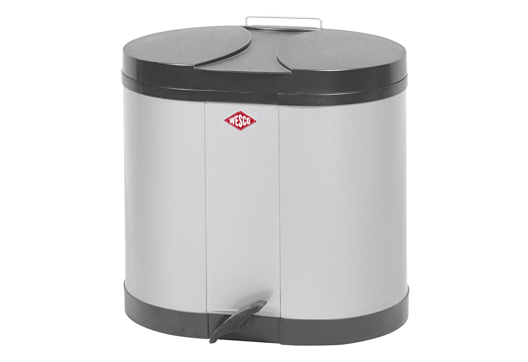 WESCO Abfallbehälter Ökosammler 2x15ltr. 43x36x45cm silber