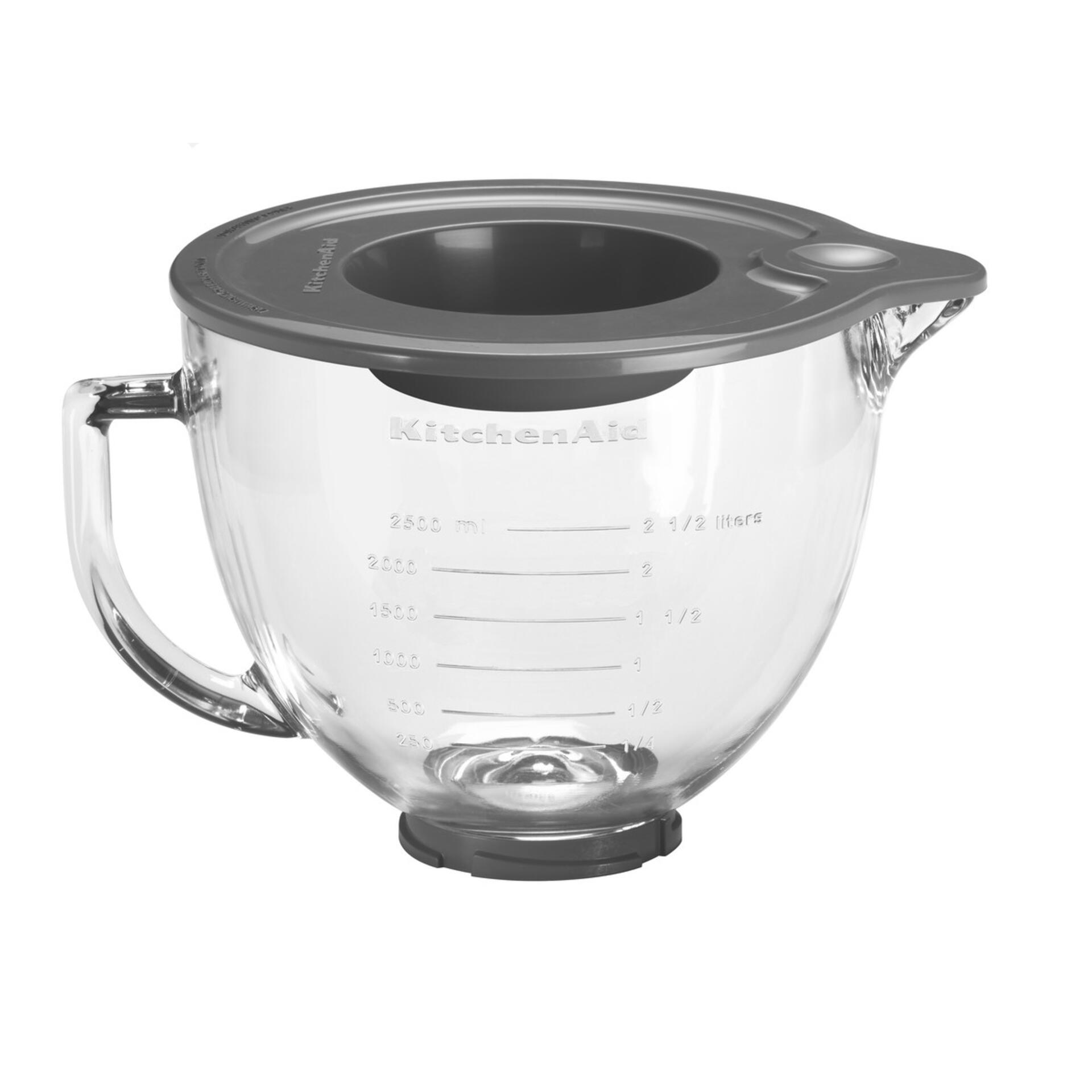 KitchenAid Klar- Glasschüssel 4,83 Liter mit Griff und Silikondeckel 5K5GB