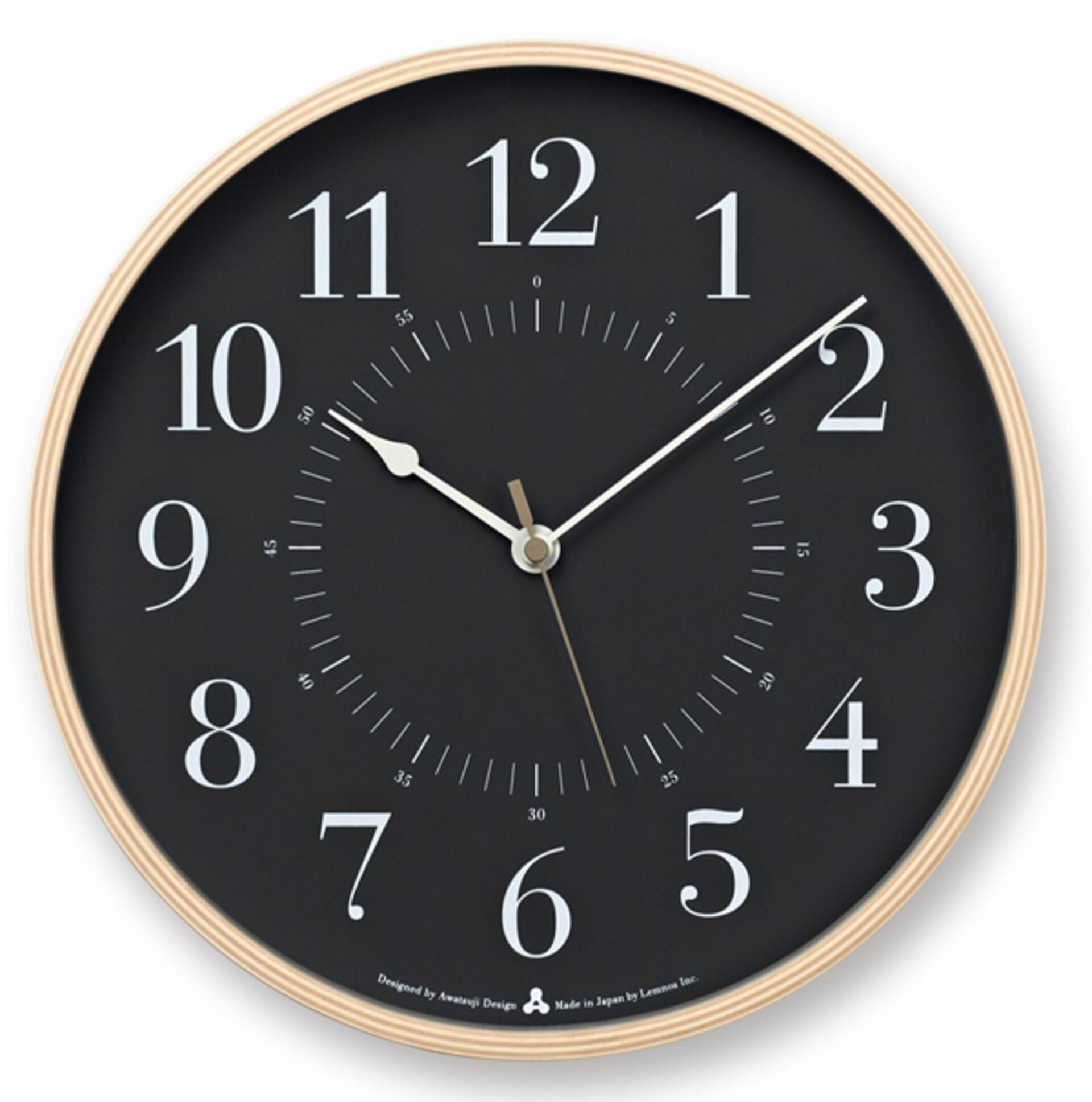 Lemnos Awa Clock Toki Wanduhr Grau