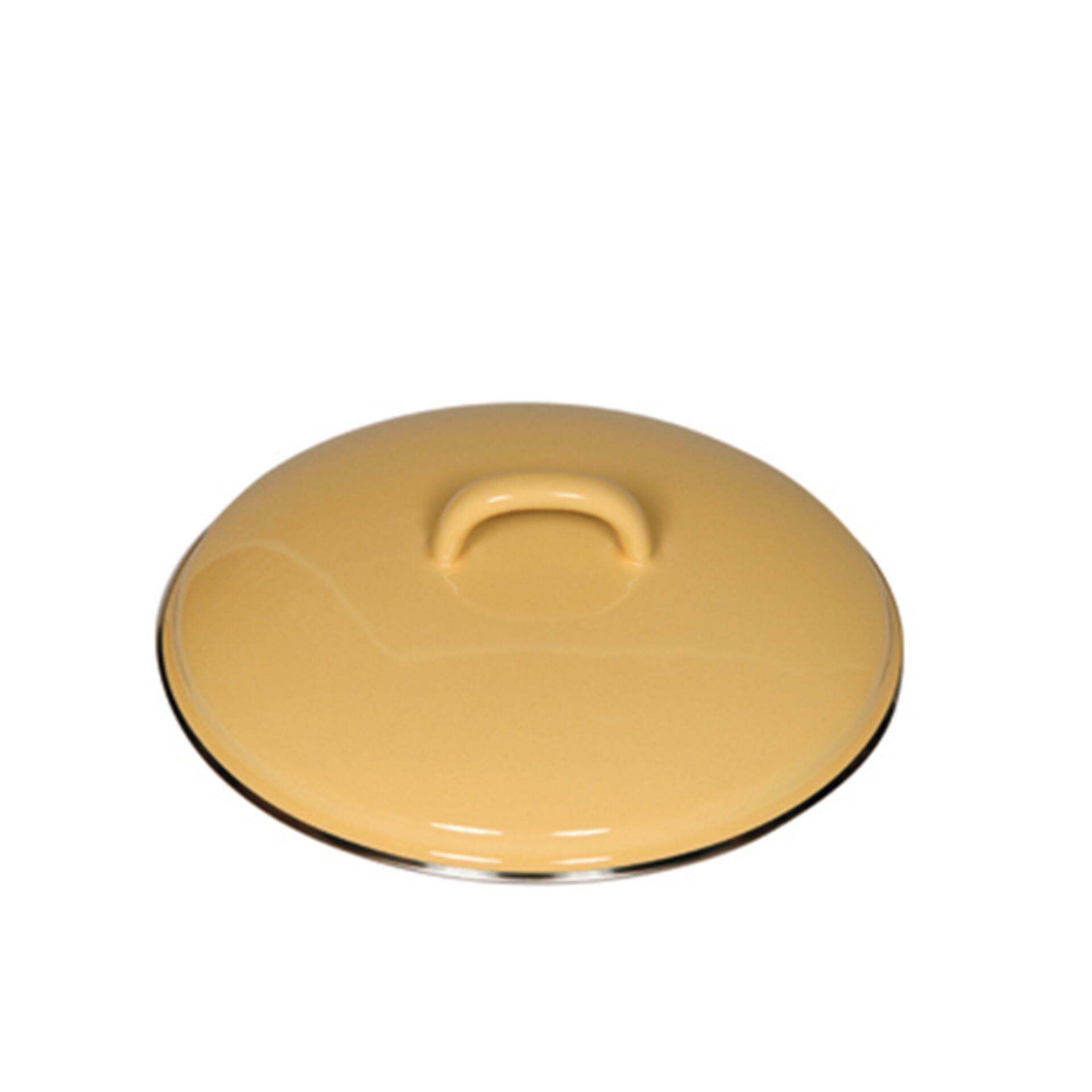 Riess Deckel aus Emaille 20 cm Goldgelb