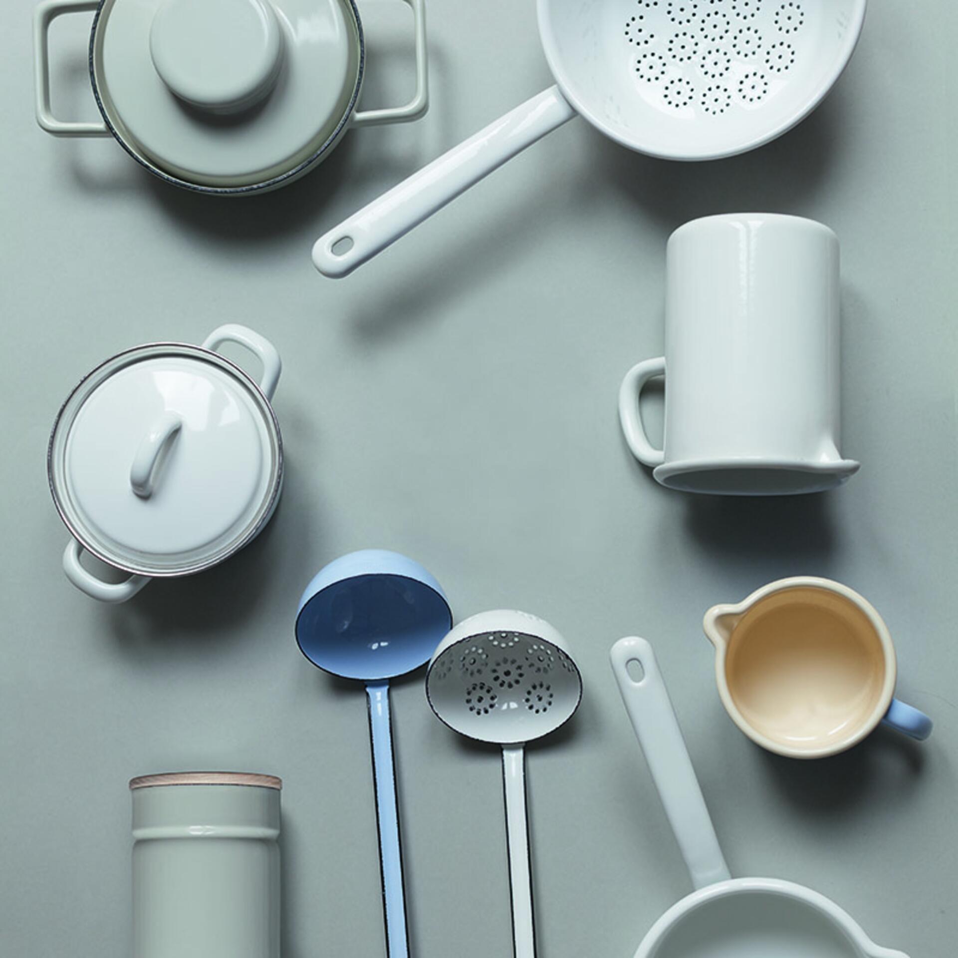 Riess Kaffeeschale Emaille 10 cm Pure Grey