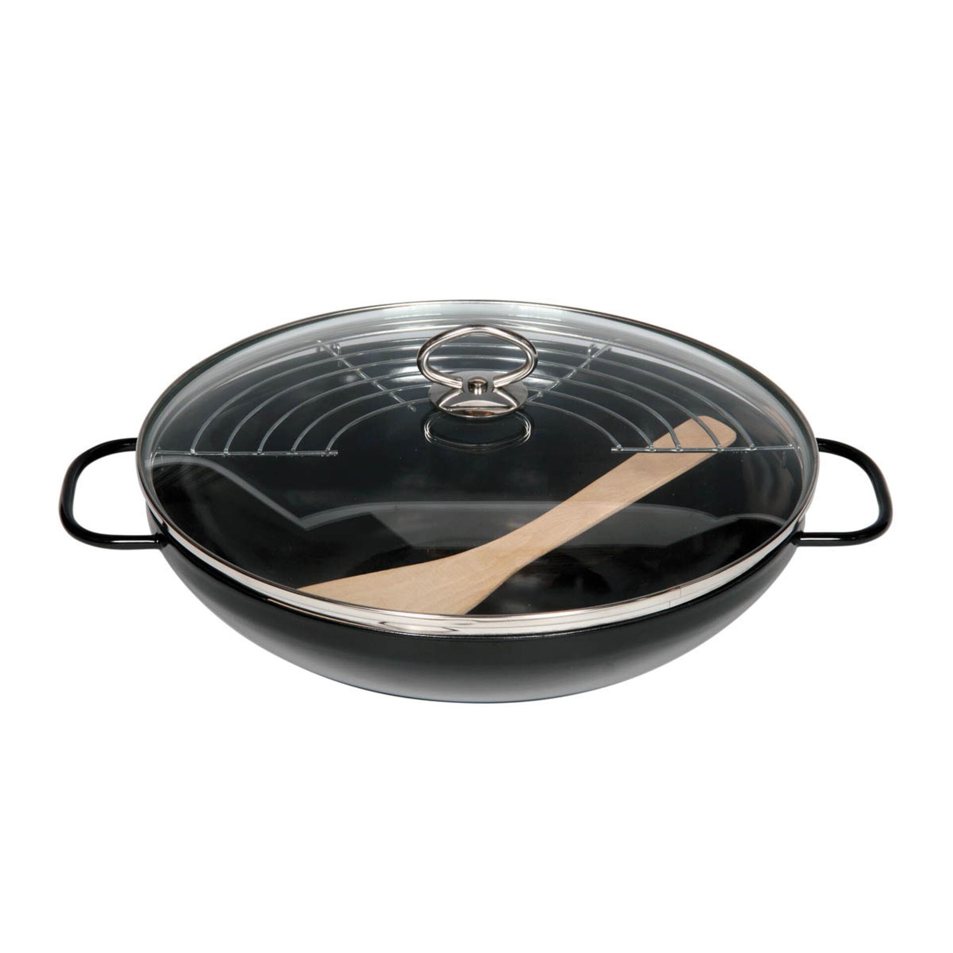 Riess Wok aus Emaille mit Stahlglasur 36 cm