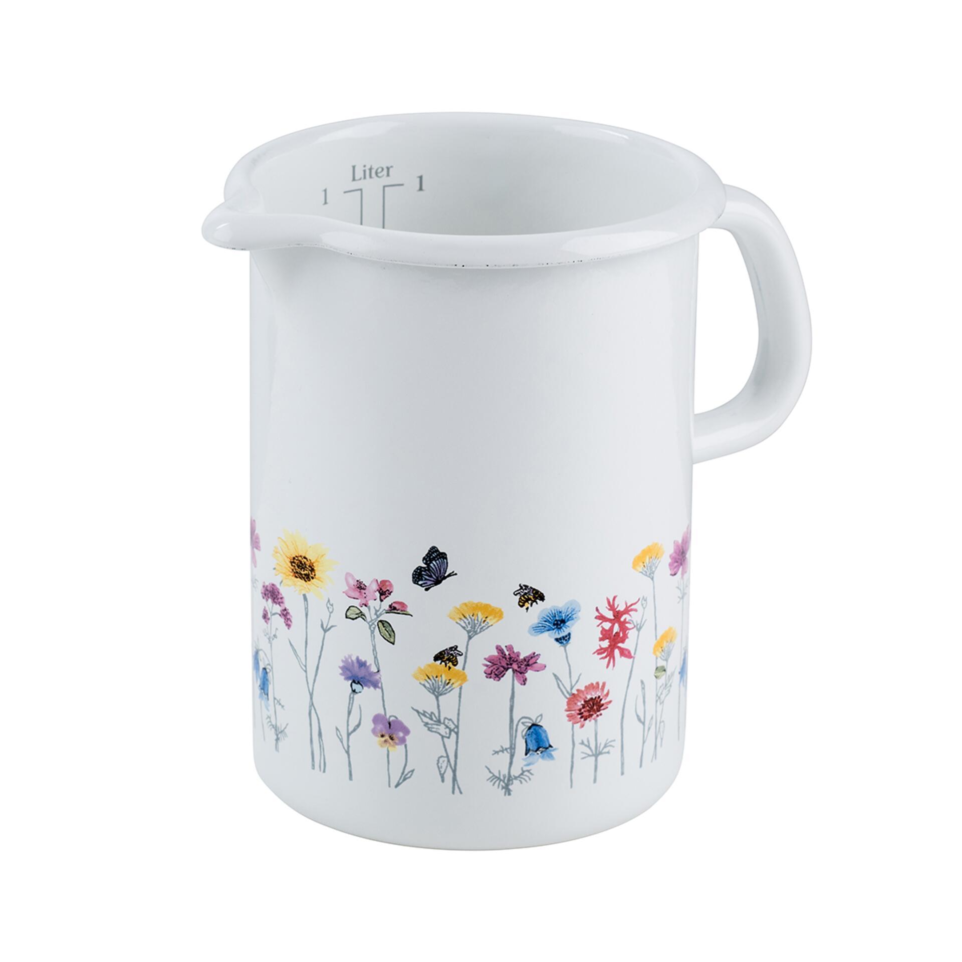 Riess Küchenmass Flora Weiss 1 Liter mit Blumendekor